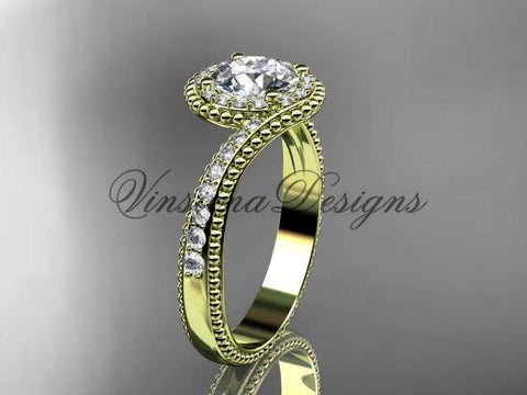 "14k yellow gold halo diamond engagement ring, ""Forever One"" Moissanite ADLR379 - Vinsiena Designs"