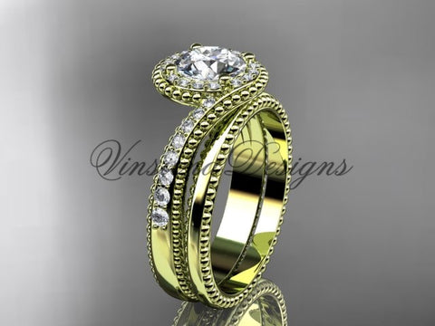 14kt yellow gold halo diamond engagement ring set ADLR379S