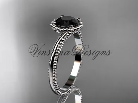 14kt white gold wedding ring, engagement ring, Enhanced Black Diamond ADLR389