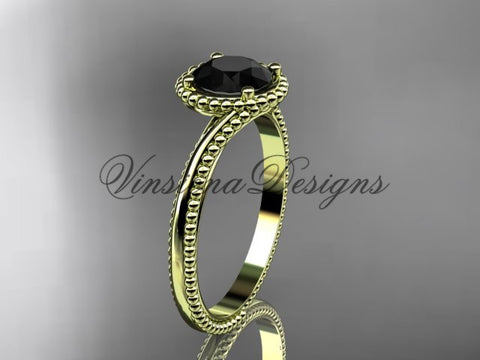 14kt yellow gold wedding ring, engagement ring, Enhanced Black Diamond ADLR389