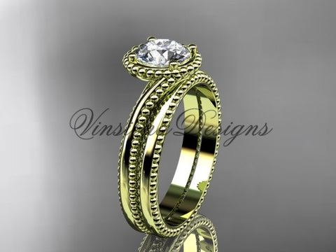 "14kt yellow gold wedding ring, engagement set, ""Forever One"" Moissanite ADLR389S"