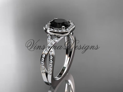 14kt white gold wedding ring, engagement ring, Enhanced Black Diamond ADER393