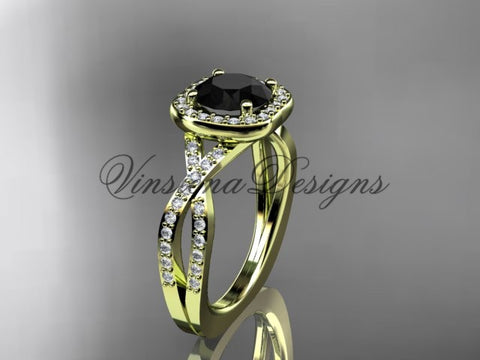 14kt yellow gold wedding ring, engagement ring, Enhanced Black Diamond ADER393
