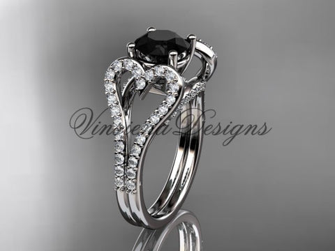 platinum heart engagement ring, wedding ring, Enhanced Black Diamond ADER395