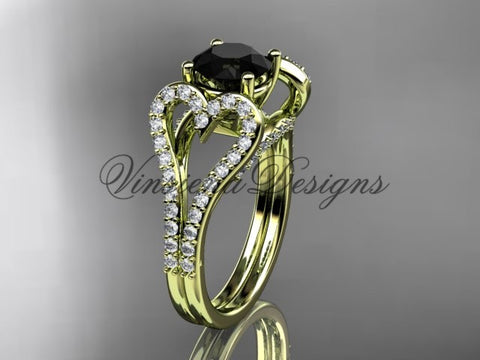 14kt yellow gold heart engagement ring, Enhanced Black Diamond ADER395