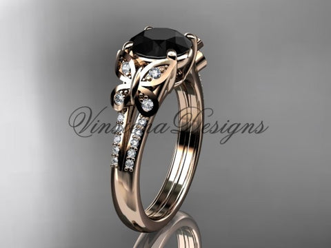 14k rose gold engagement ring, butterfly ring, enhanced Black Diamond ADLR514