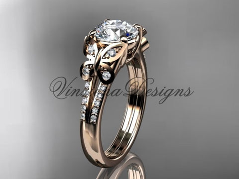 14kt rose gold diamond engagement ring, butterfly ring,  One Moissanite ADLR514