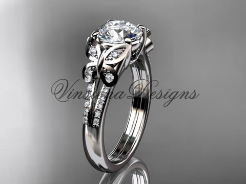 14k white gold diamond engagement ring, butterfly ring,  One Moissanite ADLR514