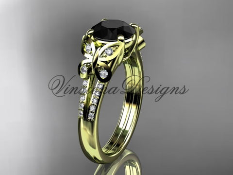 14k yellow gold engagement ring, butterfly ring, enhanced Black Diamond ADLR514