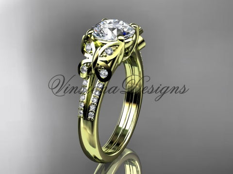 14k yellow gold diamond engagement ring, butterfly ring,  One Moissanite ADLR514