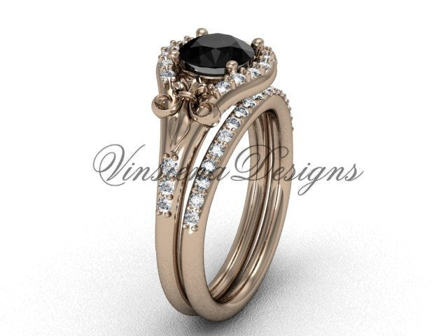 Unique 14K, 18K gold and platinum wedding bands, engagement rings and anniversary sets with diamonds, moissanites, sapphires, gem stones, black pearls.