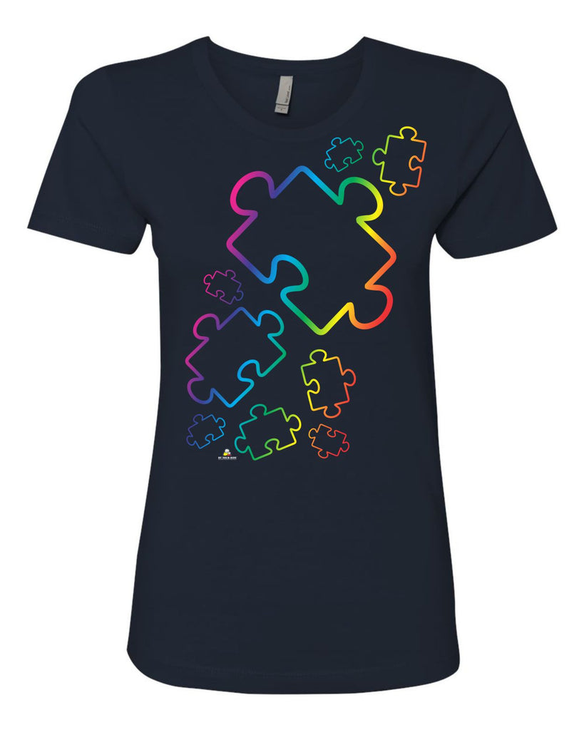BY YOUR SIDE Puzzle Design on V-Neck T-Shirt