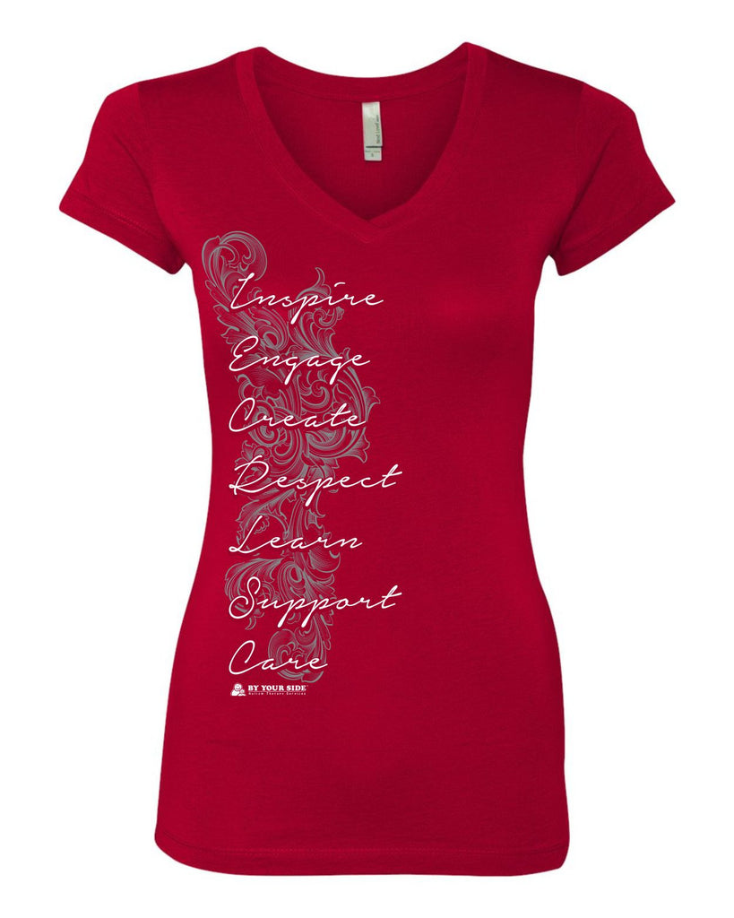 BY YOUR SIDE Inspire Flourish design on V-Neck Ladies T-Shirt