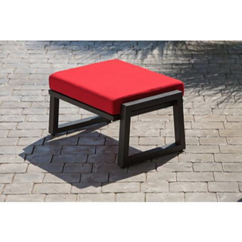 Vero Outdoor Lounge Ottoman Canvas Logo Red, Outdoor Seating   Elan  Furniture, The Dining