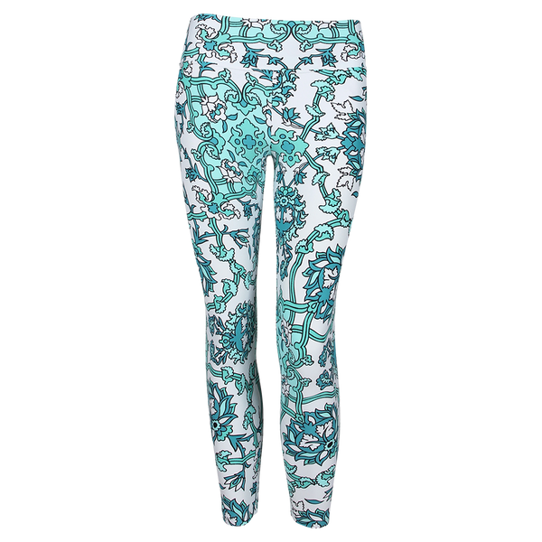 Patterned Yoga Legging Florentine Green (Final Sale)