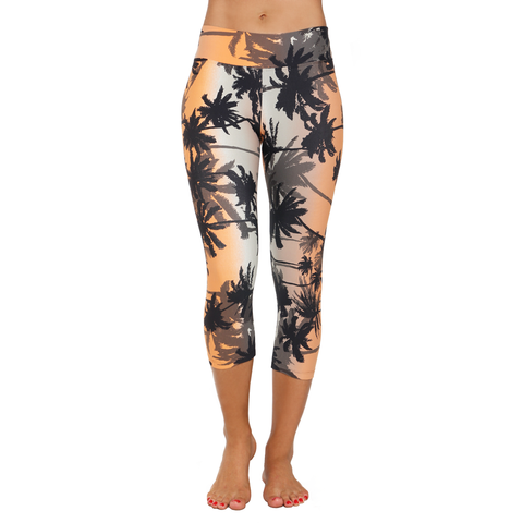 Patterned Yoga Capri Tropical Sunset