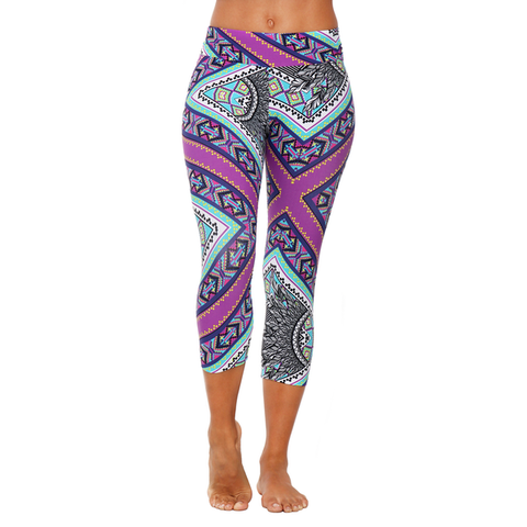 Patterned Yoga Capri Purple Vibes