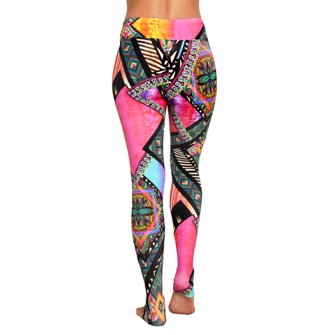 Extra Long Patterned Yoga Legging Illusionism Window