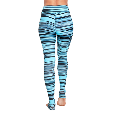 Extra Long Patterned Yoga Legging Green Spectrum (Final Sale)