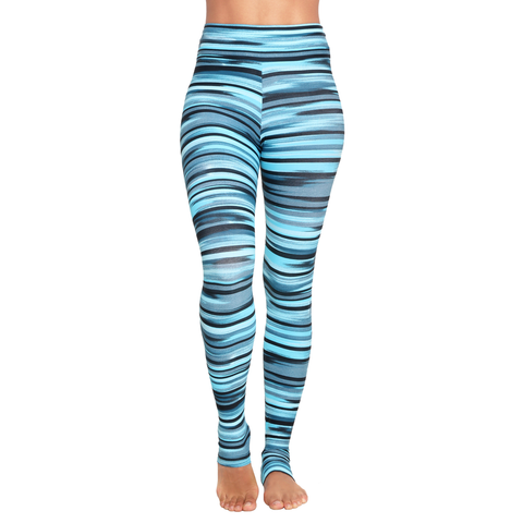 Extra Long Patterned Yoga Legging Green Spectrum