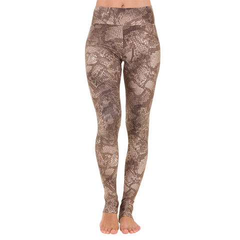 Extra Long Patterned Yoga Legging Gold Python