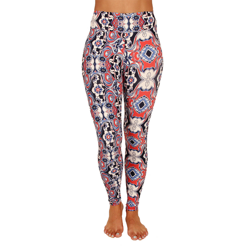Extra Long Patterned Yoga Legging Majorelle Garden