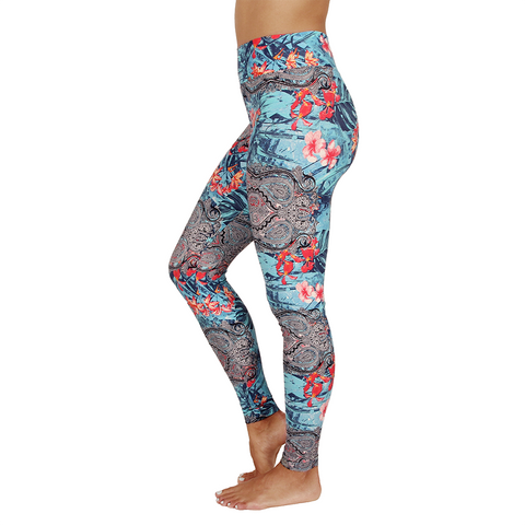 Extra Long Patterned Yoga Legging Cartagena Blue