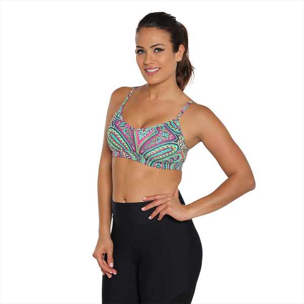 Movement Yoga Bra Green Animal Paisley