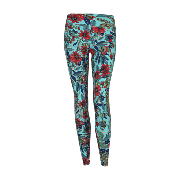 Extra Long Patterned Legging Blue Blossom (Final Sale)
