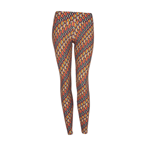 Extra Long Patterned Legging Rainbow Peacock (Final Sale)
