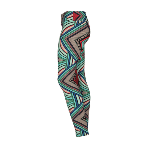 Extra Long Patterned Yoga Legging Aztec Maze (Final Sale)