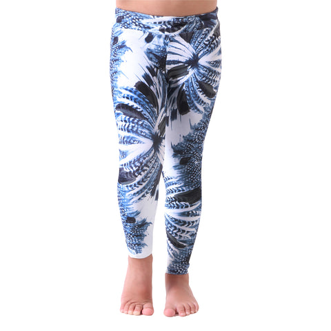 MiniMe Patterned Yoga Legging Blue Feathers (Final Sale)