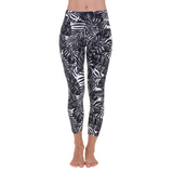 Patterned Yoga Legging The Palms B&W