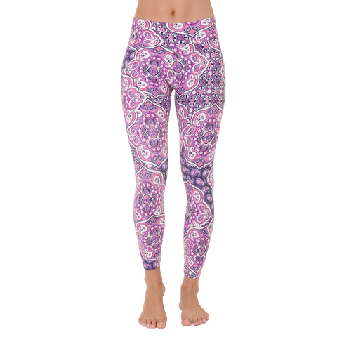 Patterned Yoga Legging Rich Amethyst