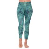 Patterned Yoga Legging Green Python
