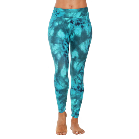 Patterned Yoga Legging Dip Dye Seaweed