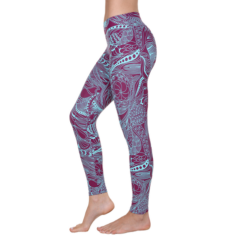 Patterned Yoga Legging Malibu Turquoise