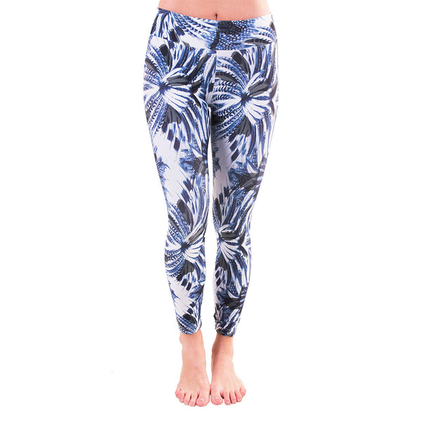 Patterned Yoga Legging Blue Feathers (Final Sale)