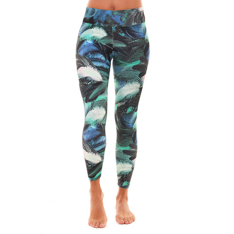 Patterned Yoga Legging Goose Feathers
