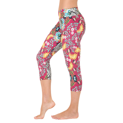 Patterned Yoga Capri Belle du Jour