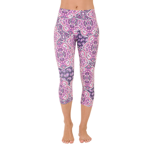 Patterned Yoga Capri Rich Amethyst