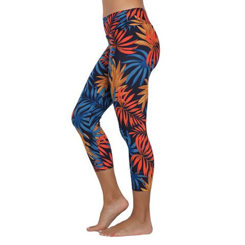 Patterned Yoga Legging Tropical Palms Mixed