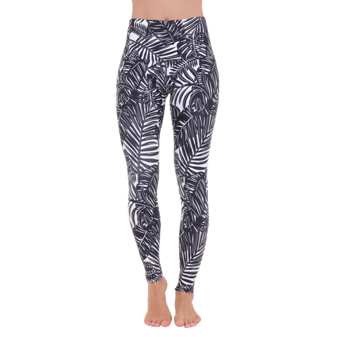 Wide Waistband Patterned Yoga Legging The Palms B&W