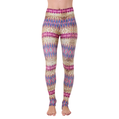 Wide Waistband Patterned Yoga Legging Magic Sequin