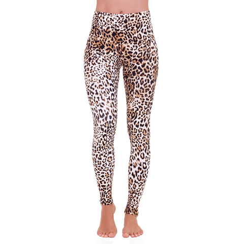 Wide Waistband Patterned Yoga Legging Queen Cheetah
