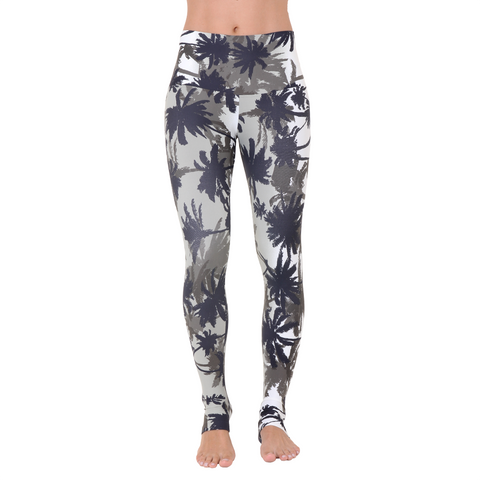 Wide Waistband Patterned Yoga Legging Tropical Storms