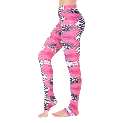 Wide Waistband Patterned Yoga Legging Pink in Flames