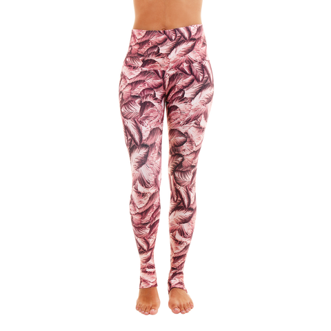 Wide Waistband Patterned Yoga Legging Flamingo
