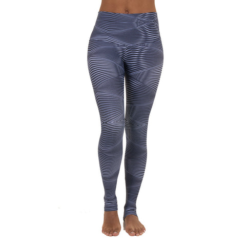 Wide Waistband Patterned Yoga Legging Silver Spotlight