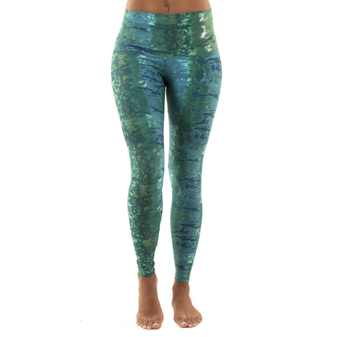 Wide Waistband Patterned Yoga Legging Green Ocean